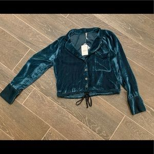 NWT free people Aspens nights Spirulina velvet top